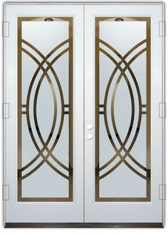 Arcs II Etched Glass Front Doors Art Deco Design provide privacy thru works of art in glass! Custom designs Art Deco decor. Slab, prehung or glass only.