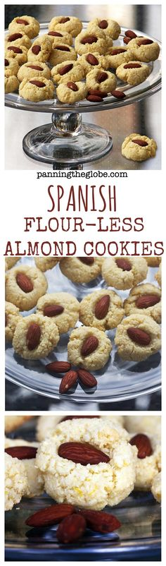 Flour-less Almond Cookies from Spain: delicious crunchy, nutty almond cookies. gluten free, dairy free, extremely quick and easy. (soft foods to eat dairy free) Desserts Espagnols, Spanish Desserts, Low Carb Desserts, Dessert Recipes, Spanish Food, Best Gluten Free Recipes, Gluten Free Sweets, Gluten Free Baking, Sweet Recipes