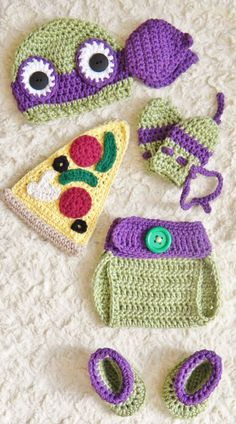 Crochet TMNT Inspired Donatello Ninja Turtle baby Outfit/Costume NB to m Crochet Baby Props, Crochet Baby Costumes, Baby Girl Crochet, Newborn Crochet, Crochet For Kids, Crochet Toys, Baby Turtles, Turtle Baby, Teenage Mutant Ninja Turtles