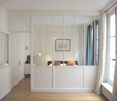 Schlafzimmer Source Home Decor Budget, Home Decor on a budget, Home Decor ideas Interior Windows, Room Interior, Interior Design, Kitchen Interior, Small Apartments, Small Spaces, Bedroom Divider, Room Partition Designs, Modern Sliding Doors