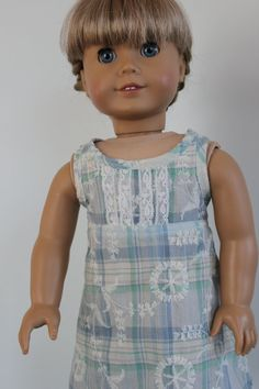 American Girl Doll Clothes  Sleeveless by ForAllTimeDesigns, $18.50  This slip/nightgown started out as an underdress -- but when it didn't work, I realized it would still make a beautiful slip/nightgown.  I especially love this fabric...
