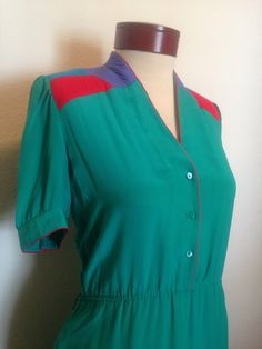 Vintage Silk Studio turquoise dress 1980s by twinflamesboutique