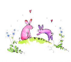 Bunnies! Wonderful watercolors from Jill Latter