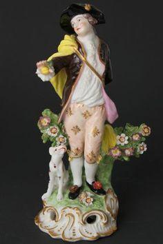 Derby Gallent Figure, Circa 1780, Puce Derby Mark