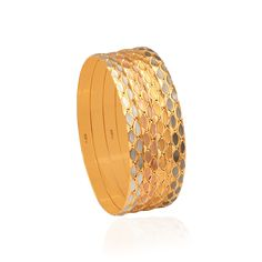 Enhance the beauty of women with these traditional gold bangles at Zar Jewels. Shop for our 'Serene' collection comprising of flat, hollow & half round bangles. Diamond Jewelry, Gold Jewelry, Jewelery, Gold Bangles Design, Jewelry Design, Cow Skull, Types Of Rings, Ring Necklace, Indian Jewelry