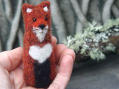 Red Fox with heart... upcycled fox needle felt wool by woolcrazy, $18.00 #etsy #fox