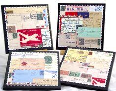 Inspiration: collage of vintage postcards coasters.
