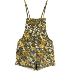 Tallow Gallery Pineapples Overall Short featuring polyvore fashion clothing jumpsuits rompers shorts dresses overall one-piece short overall shorts overalls bib overalls short slip
