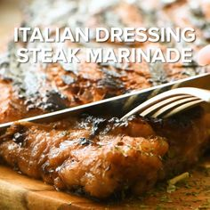Italian Dressing Steak Marinade is a delicious and easy steak marinade recipe that will give your steak a ton of flavor and make it juicy and delicious. This is because the combination of oil and vinegar with herbs and spices tenderize the steak and make Steak Marinade Recipes, Grilled Steak Recipes, Baked Chicken Recipes, Grilling Recipes, Meat Recipes, Indian Food Recipes, Cooking Recipes, Healthy Recipes, Recipes With Pork Steaks
