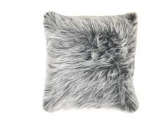 grey faux fur pillow and tie dye