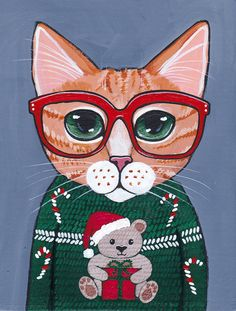 CAT in Ugly Christmas Sweater Original Folk Art by KilkennycatArt
