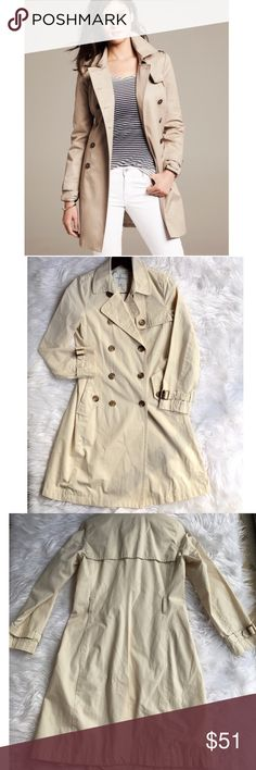 Banana Republic Classic Trench Classic Trench..fully lined.Please note : I do NOT have the belt :-( .. Good condition otherwise. Has been worn, but no major flaws. More pics and measurements to come. Size small. Best for 4/6. NO OFFERS🚫LOWEST LISTED🚫BUY IT NOW OPTION ONLY 🚫I ONLY TRADE FOR CASH 😉 Banana Republic Jackets & Coats Trench Coats