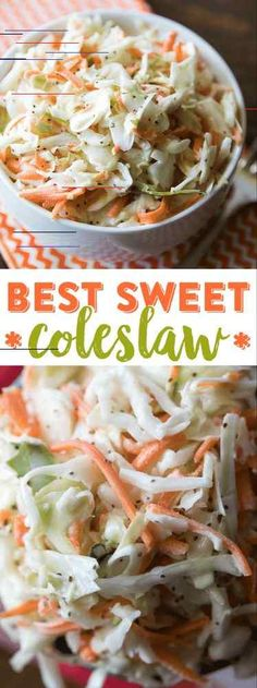 Friends, you're never going to need another coleslaw recipe again. My mom makes the absolute best sweet coleslaw and I'm sharing her secret recipe with you today. Best Sweet Coleslaw Recipe Luckily, my mom isn't Cabbage Salad Recipes, Slaw Recipes, Lemon Recipes, Dishes Recipes, Sweet Coleslaw Recipe, Creamy Coleslaw, Coleslaw Dressing, Coleslaw Mix, Ramen Coleslaw