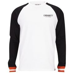 Carhartt Men's Riley Long Sleeve T-Shirt - White/Black (100 BRL) ❤ liked on Polyvore featuring men's fashion, men's clothing, men's shirts, men's t-shirts, white, men's regular fit shirts, mens white t shirts, mens black white striped shirt, mens black and white striped t shirt and mens black and white striped long sleeve t shirt