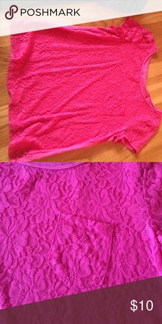 Pink lace t shirt Pink lace t shirt with pocket. Worn once. Mudd Shirts & Tops Tees - Short Sleeve