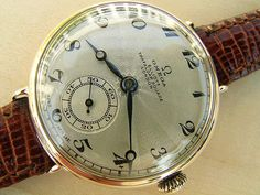 Omega pink gold officer's watch with guilloche dial 1924 | Vintage Watches