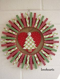 Wreath Crafts, Diy Wreath, Clothespin Crafts, Christmas Wreaths, Christmas Crafts, Christmas Decorations, Christmas Ornaments, Clothes Pin Wreath, Santas Workshop