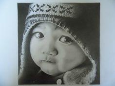 Bébé bonnet péruvien, valeur de gris sur A3 (travail réalisé pour un cours de PAA)