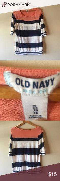 {Old Navy} Navy and Pink Striped Top Size XL. GUC. Perfect with leggings and super stretchy! Old Navy Tops Tees - Long Sleeve