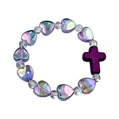 """A cutesy way to say, """"I Love You"""" to your little one with this adorable and ours exclusively cross and hearts elastic bracelet. Hearts are iridescent translucent purple."""