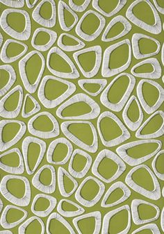 Pebbles Cricket Green Wallpaper by MissPrint via House Beautiful British Edition April 2013 |  Room Fu - Knockout Interiors