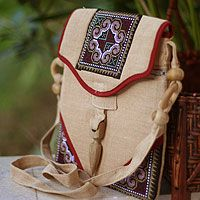 Hemp shoulder bag, 'Miracle Red' - Hemp Shoulder Bag Handmade in Thailand