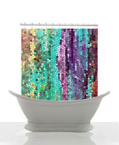 Artistic Shower Curtain -Morning has Broken Mosaic , unique, teal, purple, unique, colorful, decor, home