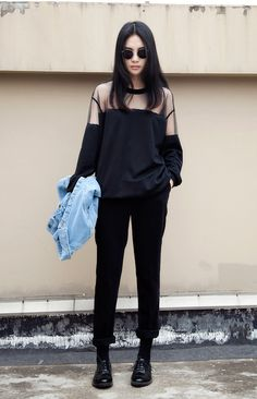 Stylish all black outfit Looks Street Style, Street Look, Looks Style, Style Me, Chill Style, Simple Style, Asian Fashion, Look Fashion, Street Fashion
