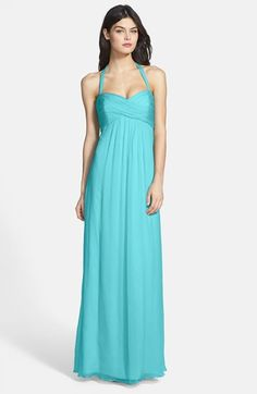 Amsale Chiffon Halter Gown available at #Nordstrom- comes in baby pink