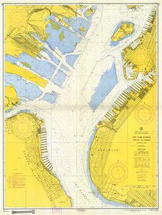 New York Harbor, mapped in 1957, courtesy of NOAA (BLDGBLOG: Submarine City)