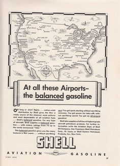 1936 Shell Aviation Gasoline Ad: Map of United States Airports Cities Shell Oil Company, Aviation Fuel, Walla Walla, United States Map, Magazine Ads, Airports, Lake City, Vintage Advertisements, Cities