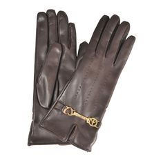 Moschino | Brown Peace & Love Leather Gloves