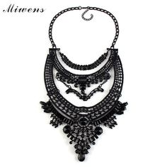Fashion Maxi Necklaces Vintage Collier Black Crystal Choker Statement Boho Necklace Fashion Women Jewelry
