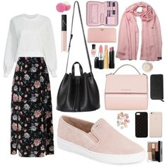 White blouse and flower skirt with pink hijab