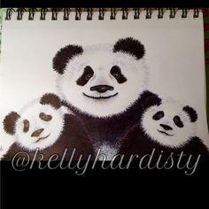 Panda family, by Katie Pie Kards by Kelly Hardisty. 2015.
