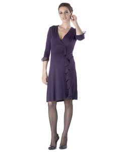 149773656d37e @Seraphine Maternity Plum Frill Dress #maternity #fashion #pregnancy #style  #minefornine