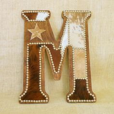 Cowhide Wall Letter M - Western Home Decor, Wall Hanging, Cowboy Nursery, Monogram by LizzyandMe on Etsy