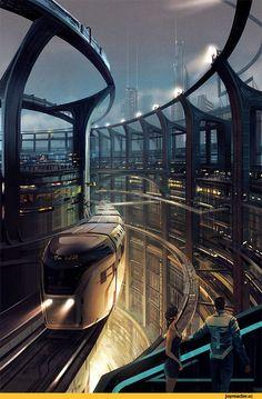 Sci-Fi,art,арт,красивые картинки,cyberpunk,вокзал