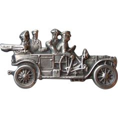 Vintage Beau Sterling Silver Antique Auto Automobile Car Pin Brooch