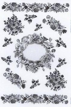 Rice paper for Decoupage l Monochrome flower fram rice paper l