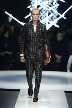 Wool suit with windowpane check, cashmere and silk T-shirt, calfskin document holder with elastic band #CanaliFW15 #mfw #FW15 #moda #menswear