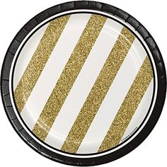 Black and Gold 7 inch Cake/Dessert Plates. One package of 8 Black and Gold 7 inch Cake/Dessert Round Paper Plates. Birthday Party Snacks, Gold Birthday Party, Birthday Party For Teens, Birthday Ideas, 80th Birthday, Happy Birthday, Birthday Signs, Golden Birthday, Special Birthday