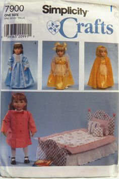 """Simplicity 7900 Bedding and Clothes for 18"""" Doll"""