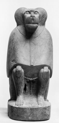 Egyptian (Artist)  ▬  ca. 380-30 BC (Late Period-Greco-Roman) ► In the shape of a baboon, this coffin (now empty) contained the mummified animal intended as an offering to the god Thoth. Revered for his wisdom, Thoth was believed to be the inventor of speech and calculation and was patron of scribes. The baboon was one of his sacred incarnations. Made separately, the front and back of the coffin have four holes for pegs to join them.