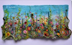 Handmade original vibrant wet felt & embroidery picture. So beautifully colourful and textural, will brighten any room it's displayed. Professionally framed within a white 33 x 47cm custom frame. Framed I such a way the detailing is protected and when the light hits the shadows are cast fantastically. Signed and dated on reverse of frame.Continue reading Felt Crafts Diy, Felt Diy, Sewing Crafts, Wet Felting Projects, Needle Felting Tutorials, Needle Felted Animals, Felt Animals, Textiles, Felt Pictures