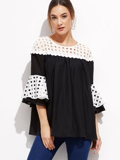 Shop Contrast Eyelet Yoke And Ruffle Sleeve Top online. SheIn offers Contrast Eyelet Yoke And Ruffle Sleeve Top & more to fit your fashionable needs.