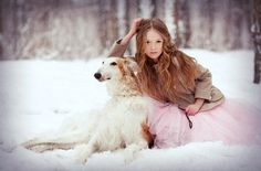 Russian girl with borzoi in the winter forest. #borzoi #dogs #Russian