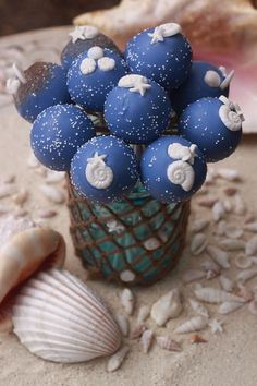 Nautical Cake Pops, Seashell Cake Pops, Beach cake pops in some of our blue jars!