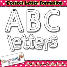 Upper and lower case PNG letters showing correct letter formation - perfect for incorporating into resources for teaching younger children how to form letters!