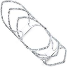 Anne Sisteron 14kt White Gold Diamond Wing Hinge Ring Diamond Full Finger Ring as seen on Carrie Underwood